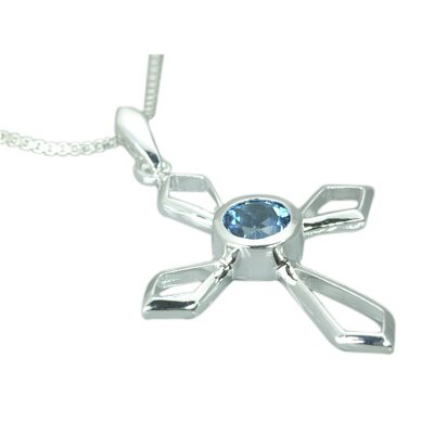 Oravo 1.00 Carat Genuine Round London Blue Topaz Cross Pendant Necklace in Sterling Silver