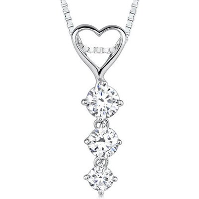 Ultimate Romance Designer Inspired Bridal Style Heart-shape Cubic Zirconia Pendant Necklace in ...