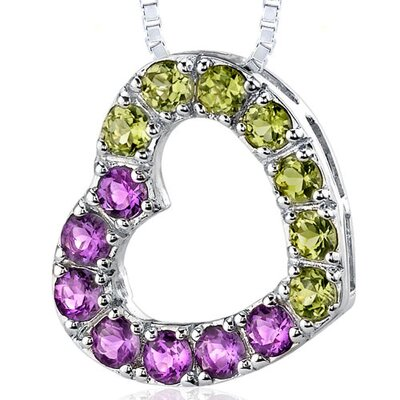 Oravo 1.75 Carats Total Weight Round Shape Amethyst and Peridot Open Heart Pendant Necklace in Sterling Silver