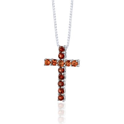 Oravo 1.75 Carats Total Weight Round Shape Garnet and Padparascha Sapphire Cross Pendant Necklace in Sterling Silver