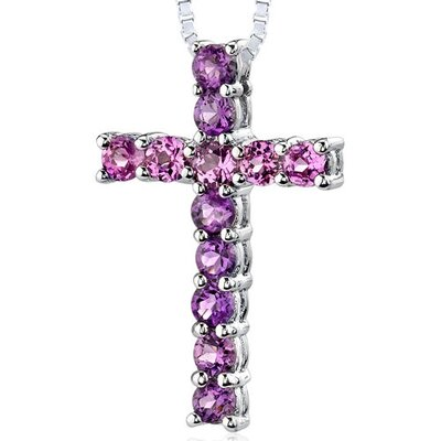 1.50 Carats Total Weight Round Shape Amethyst and Pink Sapphire Cross Pendant Necklace