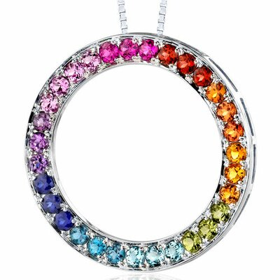 3.00 Carats Total Weight Round Shape Rainbow Color Circle of Life Pendant Necklace