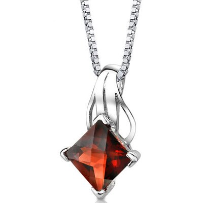 Sensational Glamour 3.25 Carats Princess Checkerboard Cut Garnet Pendant in Sterling Silver