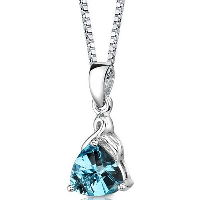 Sensual Splendor 2.00 Carats Trillion Swiss Blue Topaz Pendant in Sterling Silver