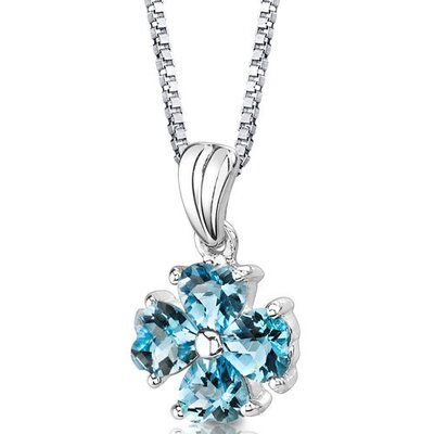 Irresistible Desire 2.00 Carats Heart Shape Swiss Blue Topaz Pendant in Sterling Silver