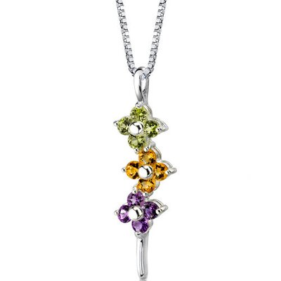 Flower Power 1.25 Carats Round Shape Multicolor Pendant in Sterling Silver
