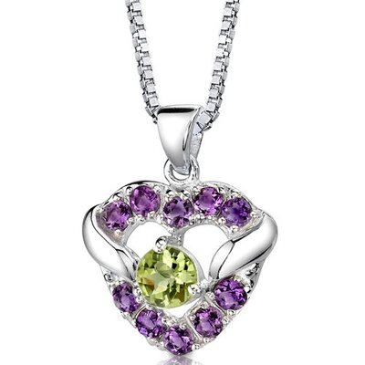 Oravo Passion Forever 1.00Carats Round Shape Peridot and Amethyst Heart Pendant in Sterling Silver