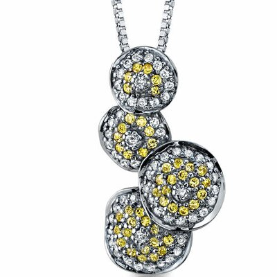 Oravo Mystifying Desire Black Rhodium Plated Bubble Pendant Necklace with Yellow CZ in Sterling Silver