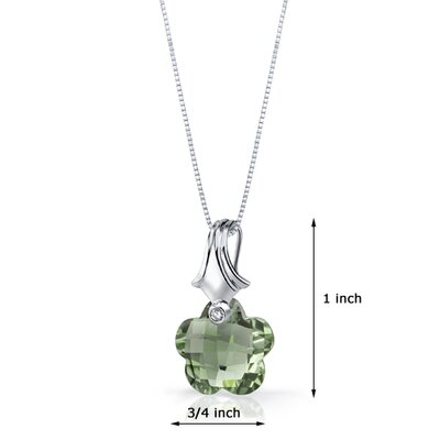 Oravo Blooming Flower Cut 11.00 Carat Green Amethyst Pendant Necklace in Sterling Silver