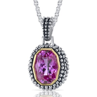 Barrel Cut 7.75 Carats Pink Sapphire Antique Style Pendant in Sterling Silver