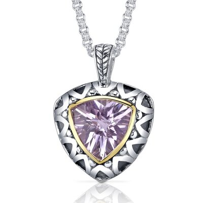 Trillion Checkerboard Cut 5.00 Carats Pink Amethyst Antique Style Pendant in Sterling Silver