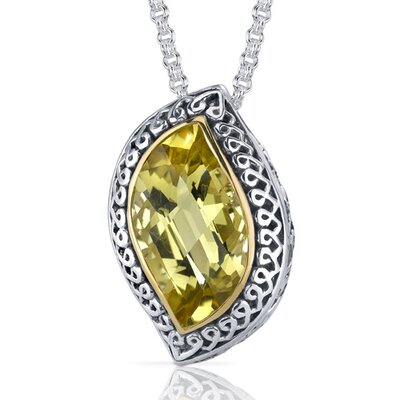 Leaf Cut 8.00 Carats Champagne Citrine Ribbon Motif Pendant in Sterling Silver