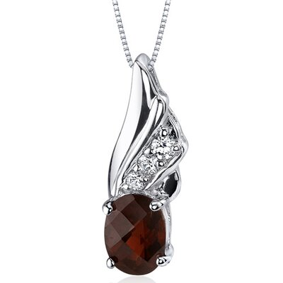 Oravo Graceful Angel 1.50 Carats Oval Shape Garnet Pendant in Sterling Silver