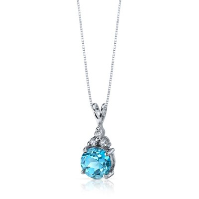 Oravo Refined Class 2.25 Carats Round Shape Swiss Blue Topaz Pendant in Sterling Silver