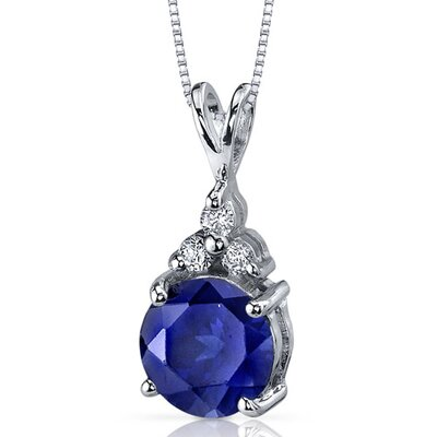 Refined Class 2.75 Carats Round Shape Blue Sapphire Pendant in Sterling Silver