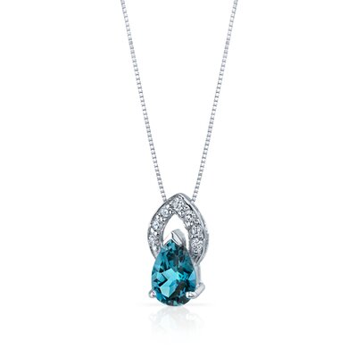 Oravo Captivating Allure 1.50 Carats Pear Shape London Blue Topaz Pendant in Sterling Silver