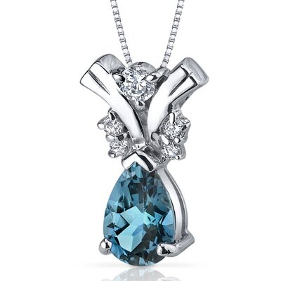 Gallantly Exotic 1.50 Carats Pear Shape London Blue Topaz Pendant in Sterling Silver