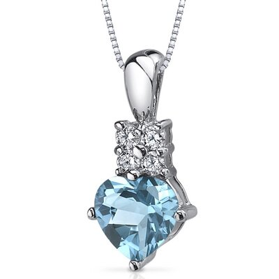 Captivating Love 1.50 Carats Heart Shape Swiss Blue Topaz Pendant in Sterling Silver