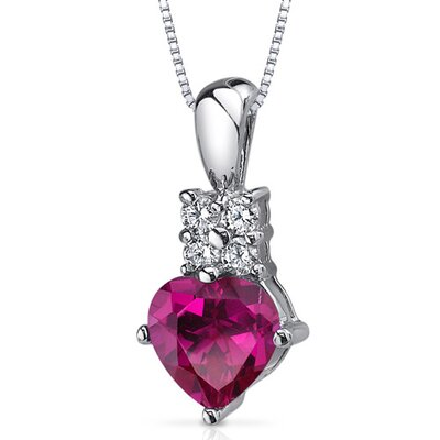 Captivating Love 1.75 Carats Heart Shape Ruby Pendant in Sterling Silver