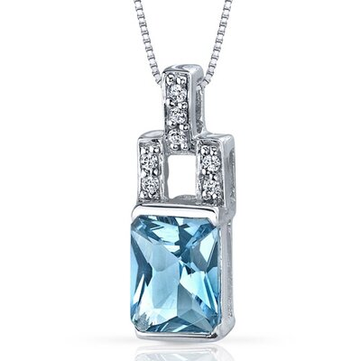 Exquisite Brilliance 1.50 Carats Radiant Shape Swiss Blue Topaz Pendant in Sterling Silver