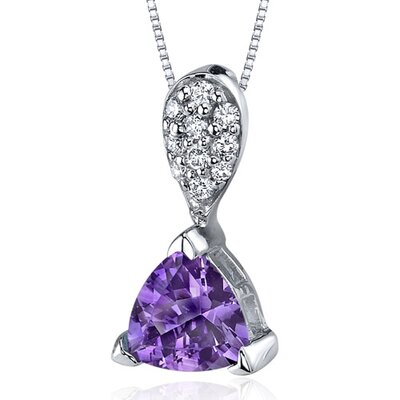 Oravo Sleek Shimmer 1.00 Carat Trillion Cut Sterling Silver Amethyst Pendant in Sterling Silver