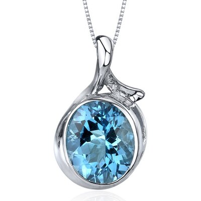 Boldly Colorful 5.25 Carats Oval Cut Swiss Blue Topaz Pendant in Sterling Silver