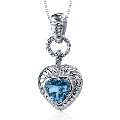 Oravo Gallant Love 1.25 Carats Heart Shape London Blue Topaz Pendant in Sterling Silve