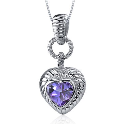Gallant Love 1.75 Carats Heart Shape Alexandrite Pendant in Sterling Silve