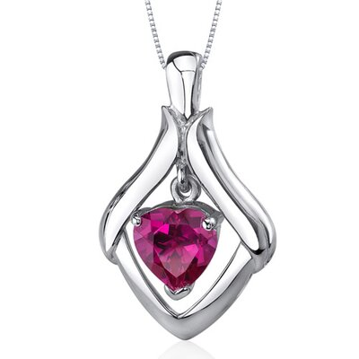 Exuberant Love 3.50 Carats Heart Shape Ruby Pendant in Sterling Silve