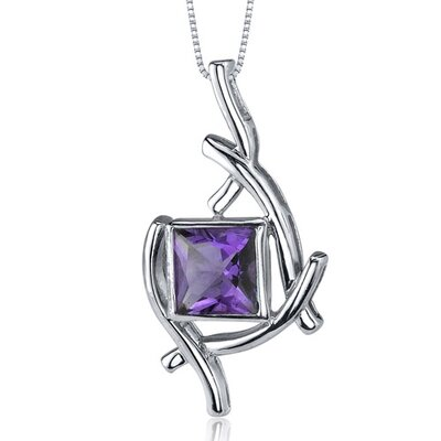 Artistic Design 1.50 Carats Princess Cut Amethyst Pendant in Sterling Silve