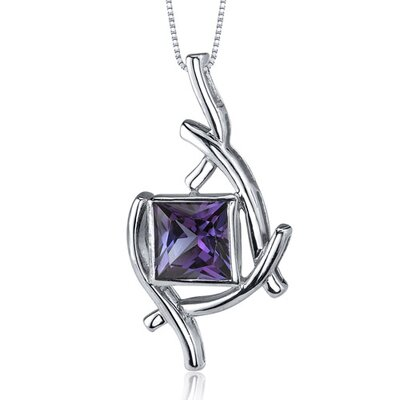 Artistic Design 2.25 Carats Princess Cut Alexandrite Pendant in Sterling Silve