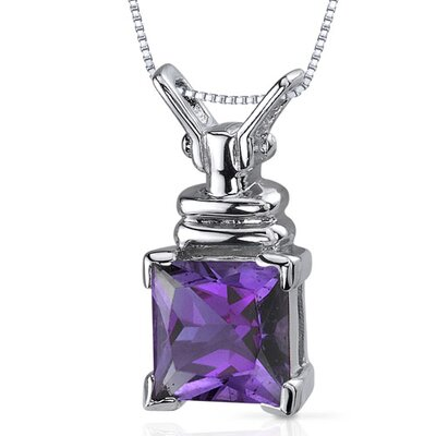 Boldly Regal 2.00 Carats Princess Cut Amethyst Pendant in Sterling Silve