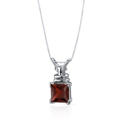 Oravo Boldly Regal 2.75 Carats Princess Cut Garnet Pendant in Sterling Silve