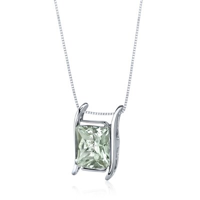 Oravo Striking Colo2.75 Carats Radiant Cut Green Amethyst Pendant in Sterling Silve