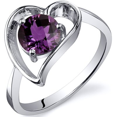 Heart Shape 1.00 carats Solitaire Ring in Sterling Silver