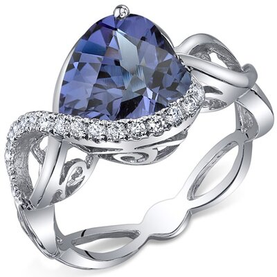 Swirl Design 4.00 Carats Heart Shape Ring in Sterling Silver