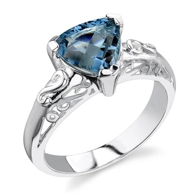 2.00 carats Trillion Cut London Blue Topaz Ring in Sterling Silver