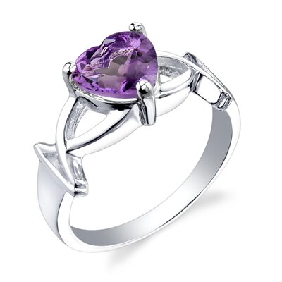 1.50 carats Heart Shape Amethyst Ring in Sterling Silver