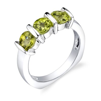1.75 carats Round Cut Peridot Ring in Sterling Silver
