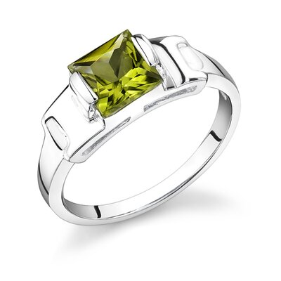 1.75 Carats Princess Cut Peridot Ring in Sterling Silver