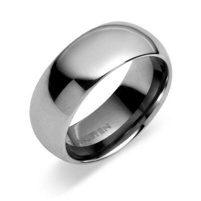 Classy 8mm Dome Style Comfort Fit Mens Tungsten Carbide Wedding Band Ring