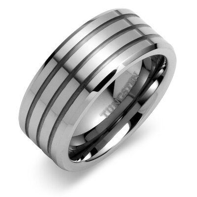 Beveled Edge Triple Grooved 9mm Comfort Fit Mens Tungsten Carbide Wedding Band Ring
