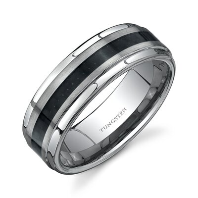 Rounded Edge Brush Finish Black Carbon Fiber 8 mm Comfort Fit Mens Tungsten Wedding Band ...