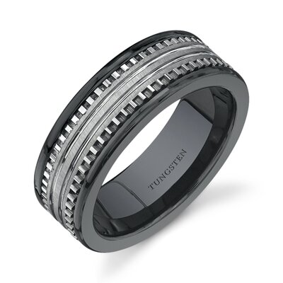 Oravo Rounded Edge 7 mm Comfort Fit Mens Black Ceramic and Tungsten Combination Wedding Band Ring