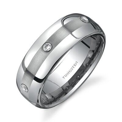 Rounded Edge Three Stone design Cubic Zirconia 8 mm Comfort Fit Mens Tungsten Wedding Band ...