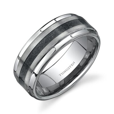 Step Edge Brush Finish Black Carbon Fiber 9 mm Comfort Fit Mens Tungsten Wedding Band ...