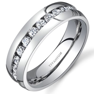 Oravo Titanium Womens 6 mm Eternity Band with Cubic Zirconia