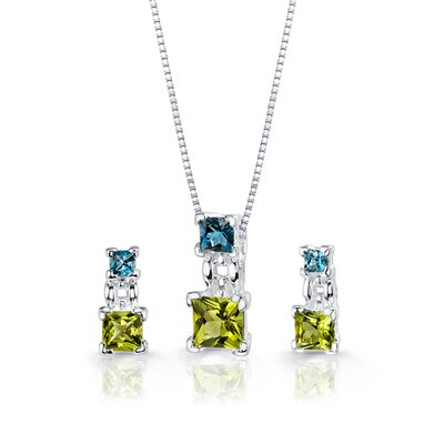 Oravo 3.25 cts Princess Cut Peridot London Topaz Pendant Earrings in Sterling Silver Free 18 inch Necklace