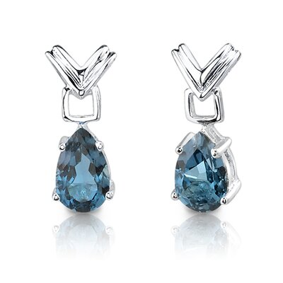 Oravo 4.25 cts Pear Shape London Blue Topaz Pendant Earrings in Sterling Silver Free 18 inch Necklace