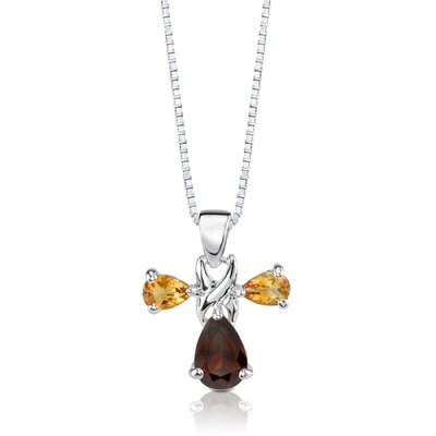 Oravo 4.25 cts Pear Shape Garnet Citrine Pendant Earrings in Sterling Silver Free 18 inch Necklace